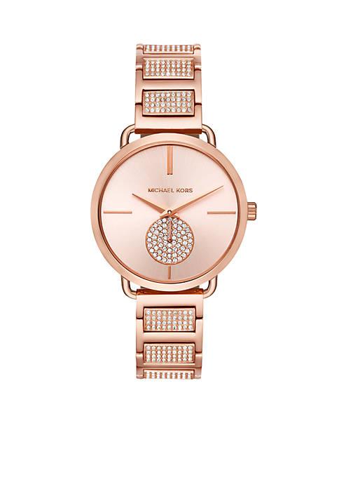 Michael Kors Womens Stainless Steel Portia Pavé Watch