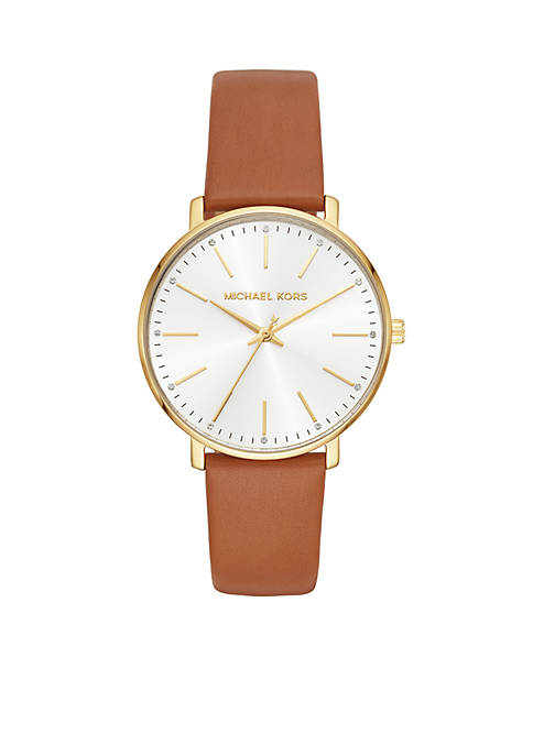 Michael Kors Womens Gold-Tone Pyper Luggage Leather Watch