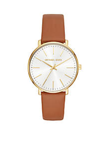 Women's Gold-Tone Pyper Luggage Leather Watch