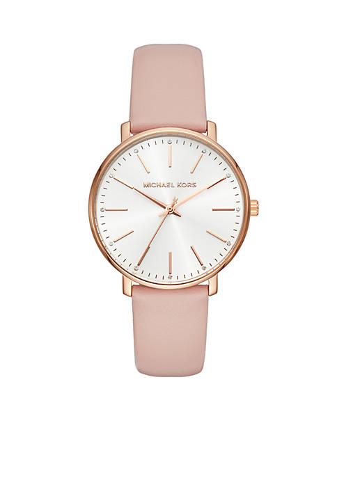 Womens Rose Gold-Tone Pyper Blush Leather Watch
