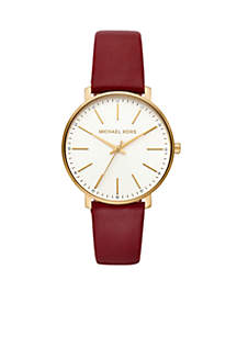 97298afa2fe806 ... Michael Kors Women's Stainless Steel Pyper Three-Hand Merlot Leather  Watch