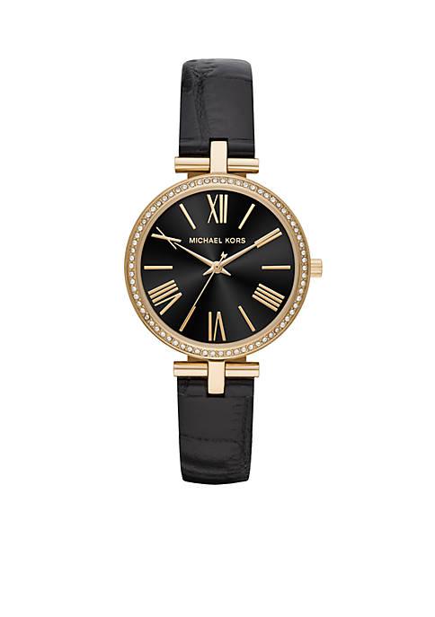 Michael Kors Maci Three-Hand Black Leather Watch