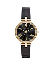 Maci Three-Hand Black Leather Watch