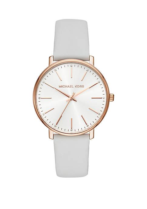 Womens Pyper Three Hand White Leather Watch