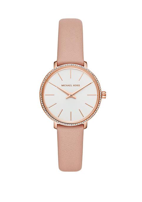 Michael Kors Pyper 3 Hand Pink Leather Watch