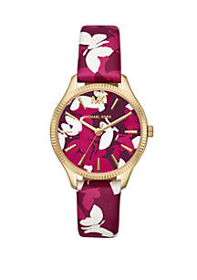 Michael Kors Women's Lexington Three Hand Pink Floral Printed Leather Watch