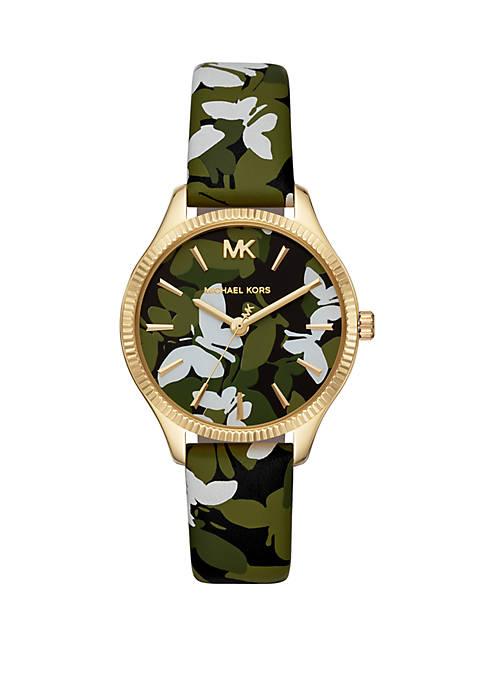 Michael Kors Womens Lexington Three Hand Green Floral