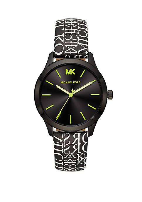 Michael Kors Womens Runway Three Hand Black Leather
