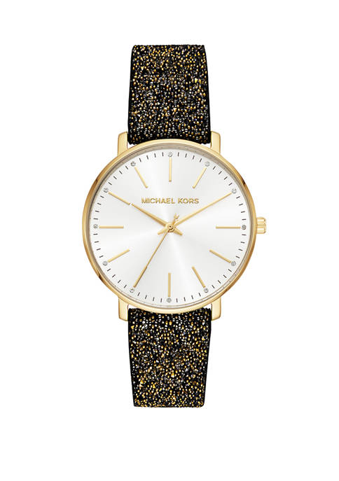Michael Kors Pyper Three Hand Crystal Leather Watch