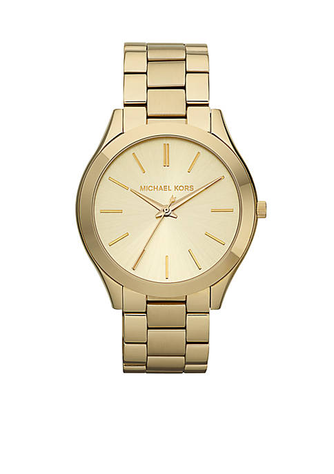 Michael Kors Gold Tone Stainless Steel Slim Runway