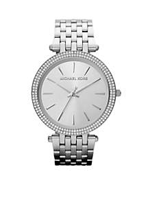 Mid-Size Silver-Tone Stainless Steel Darci Three-Hand Glitz Watch