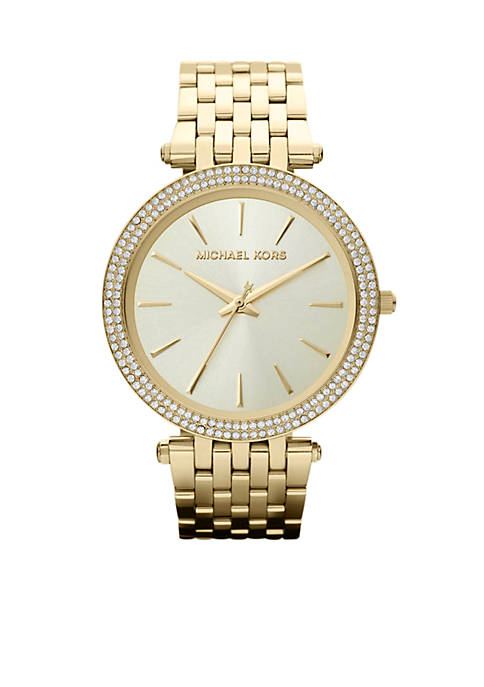 Michael Kors Mid-Size Gold-Tone Stainless Steel Darci Three-Hand