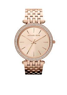 Mid-Size Rose Gold Tone Stainless Steel Darci Three Hand Glitz Watch