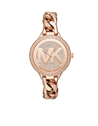 184649ffe005 Michael Kors Womens Rose Gold-Tone Outlets Watch ...
