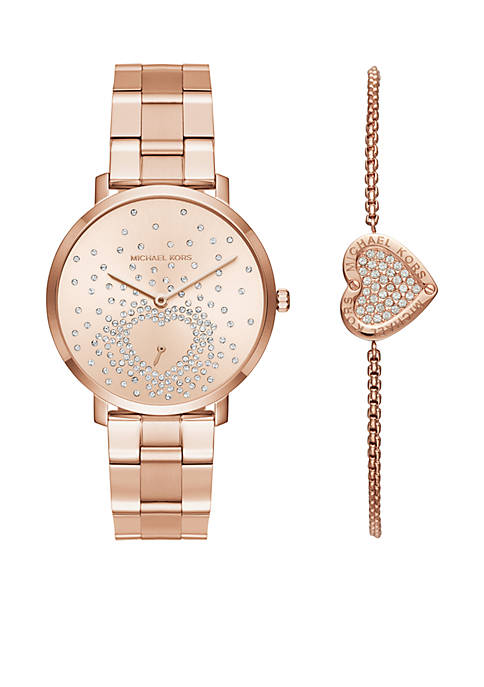 Womens Rose-Gold Watch and Bracelet Set