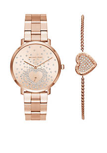 Michael Kors Womens Rose Gold Watch And Bracelet Set