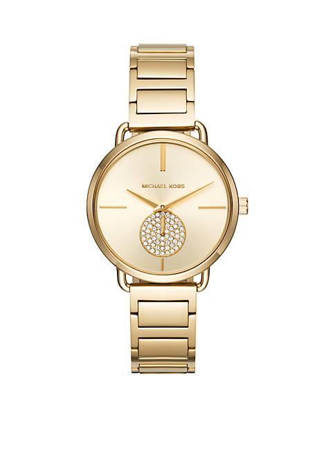 Womens Portia Gold-Tone Two-Hand Sub-Eye Watch