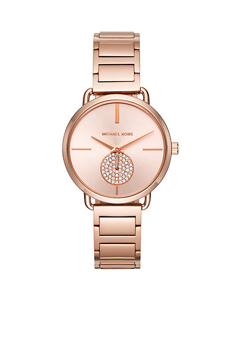 Michael Kors Womens Portia Rose Gold-Tone Two-Hand Sub-Eye