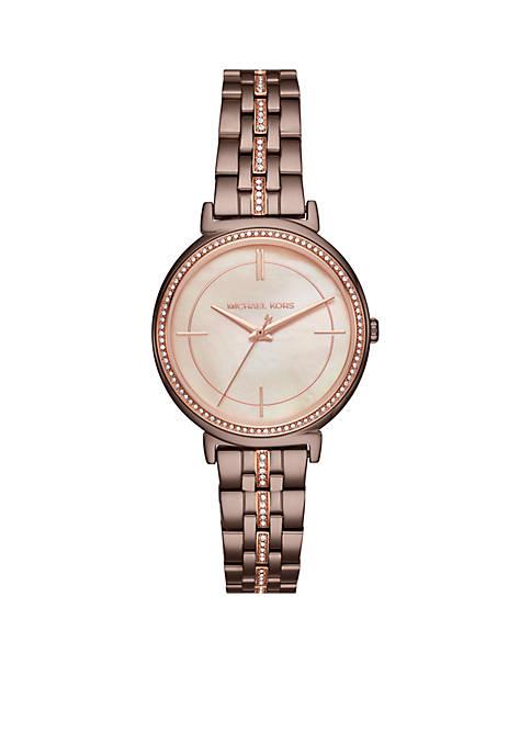 Michael Kors Womens Rose Gold-Tone Cinthia Watch