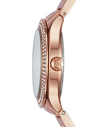 31a1c9aa57c9 ... Michael Kors Womens Rose Gold-Tone Mini Kerry Watch