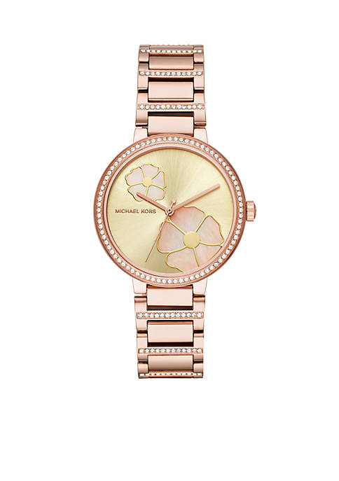 Michael Kors Womens Rose Gold-Tone Courtney Floral Watch
