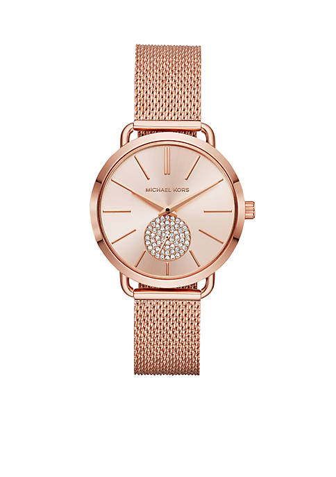 Michael Kors Womens Rose Gold-Tone Portia Mesh Watch