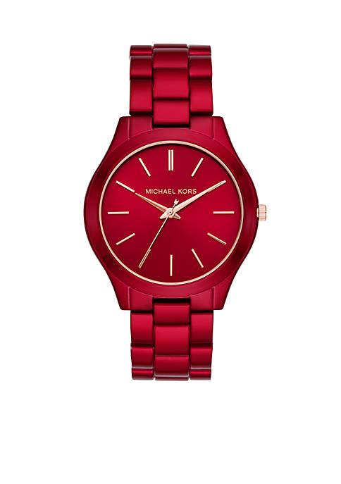 Slim Runway Three-Hand Red-Coated Stainless Steel Watch