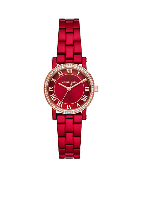 Michael Kors Norie Three-Hand Red Coated Stainless Steel