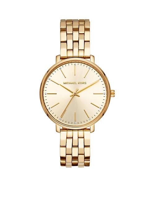 Michael Kors Pyper Three-Hand Gold-Tone Stainless Steel Watch