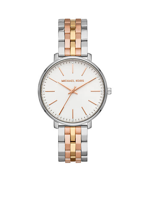 Michael Kors Pyper Three-Hand Tri-Tone Stainless Steel Watch
