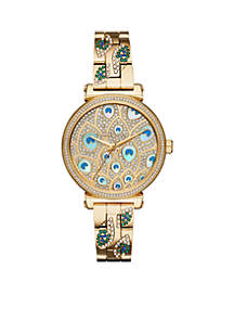 Michael Kors Sofie Three-Hand Gold-Tone Peacock Stainless Steel Watch