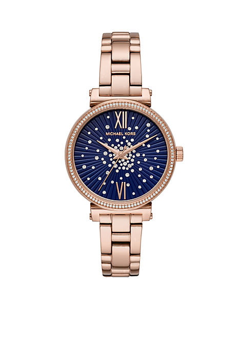 Michael Kors Rose Gold-Tone Stainless Steel Sofie Two-HandWatch