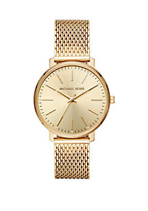 Michael Kors Gold Tone Stainless Steel Pyper Mesh Bracelet Watch