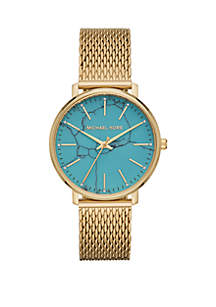 Michael Kors Gold Tone Stainless Steel Pyper Watch