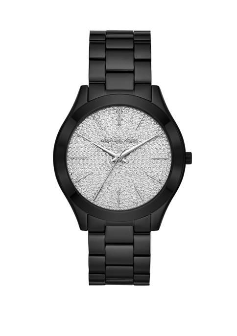 Womens Slim Runway Three-Hand Black Stainless Steel Watch