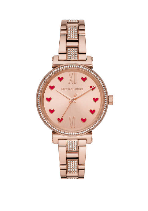 Fossil® Womens Sofie Three-Hand Rose Gold-Tone Stainless Steel