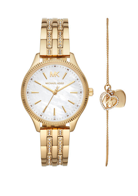 Michael Kors Womens Lexington Three-Hand Gold-Tone Stainless