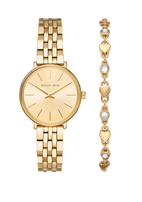 Michael Kors Womens Pyper Three Hand Gold Tone