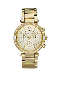 Midsize Gold-Tone Stainless Steel Parker Glitz Watch
