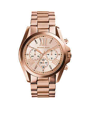 c7e005241410 Michael Kors Women s Rose Gold-Tone Stainless Steel Oversized Bradshaw  Watch ...