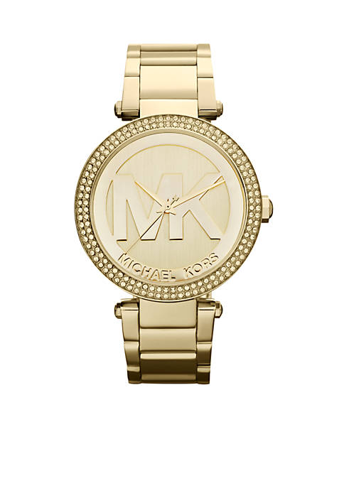 Michael Kors Womens Midsize Gold-Tone Stainless Steel Parker