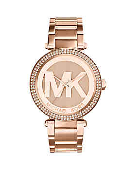 02d00911ce2 Michael Kors Mid-Size Rose Gold-Tone Stainless Steel Parker Three-Hand Glitz  ...