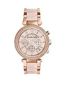 Women's Mid-Size Blush Acetate and Rose Gold Tone Stainless Steel Parker Chronograph Glitz Watch