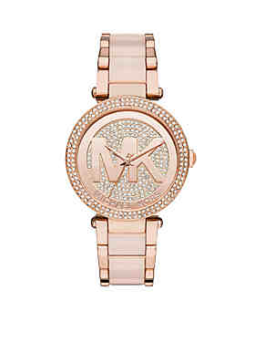 01f267c0825b Michael Kors Rose Gold Tone Plated Stainless Steel with Rose Acetate Center  Links ...