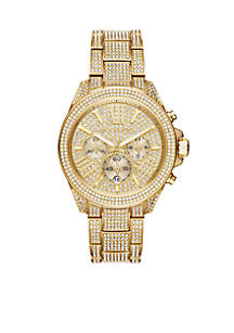 Gold-Tone Stainless Steel and Pave Wren Chronograph Watch