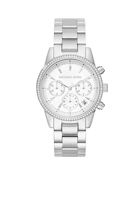 Michael Kors Womens Ritz Stainless-Steel Silver Chronograph Watch