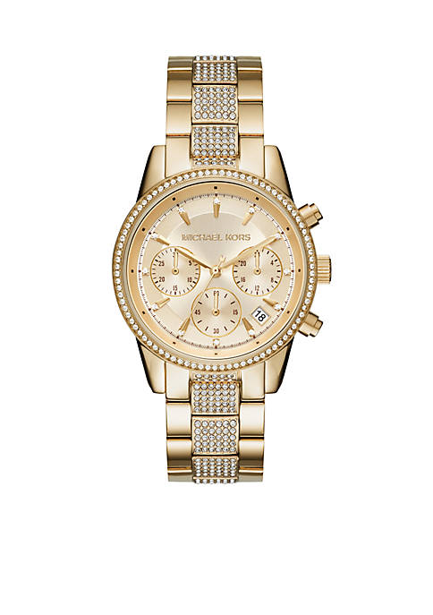 Michael Kors Chronograph Ritz Gold-Tone Stainless Steel Bracelet