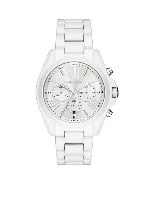 Michael Kors Stainless-Steel Bradshaw White Coating Watch