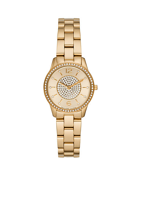 Michael Kors Runway Two-Hand Gold-Tone Stainless Steel Watch
