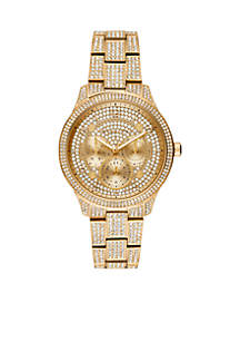 Runway Multi-Function Pave Gold-Tone Stainless Steel Watch